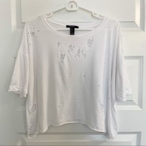 Forever 21 Ripped Up White Crop Top (M)